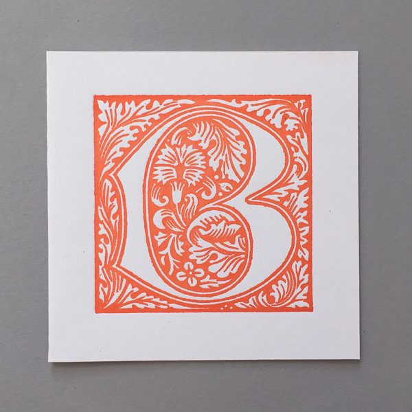 letterpress card william morris b orange