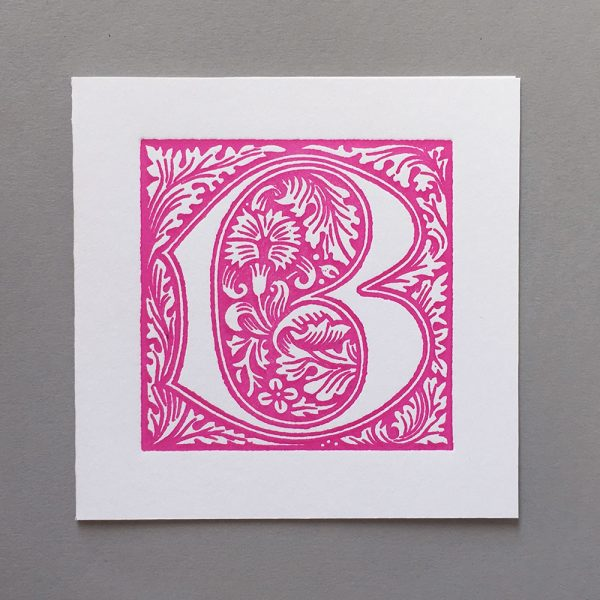 Letter Press Card William Morris B Pink