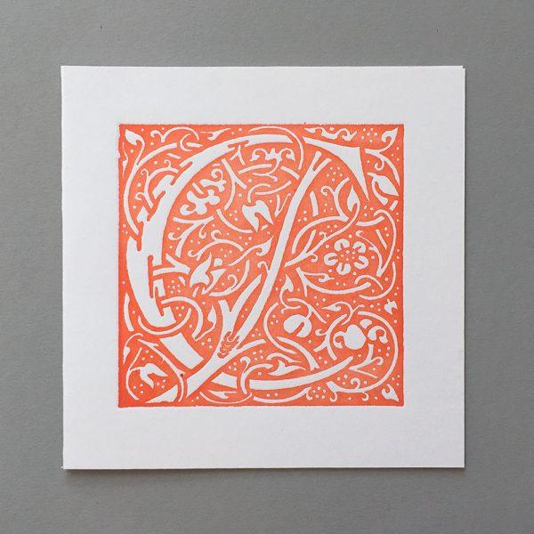 Letter Press Card William Morris C orange