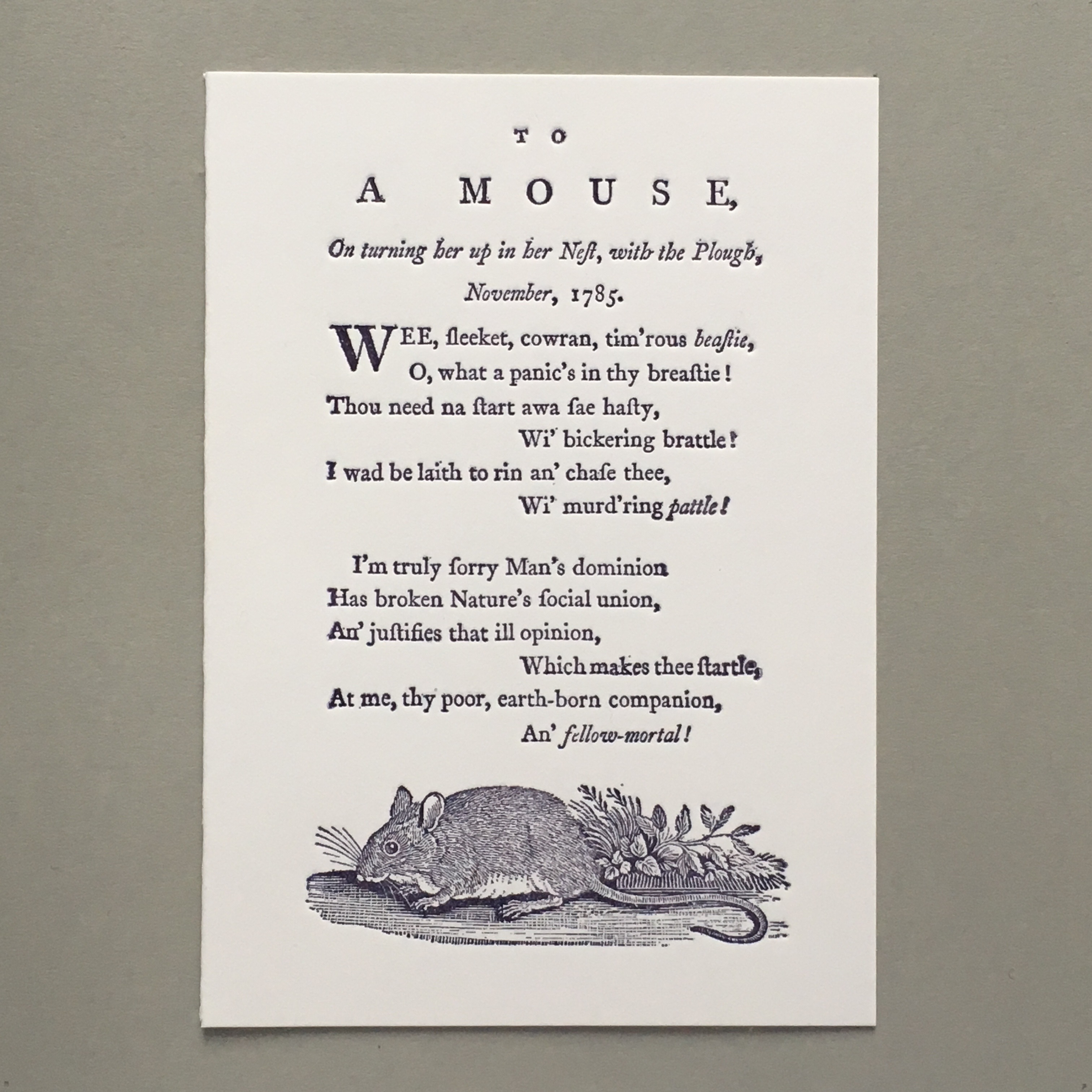 To a Mouse 'Poems, chiefly in the Scottish dialect' Robert Burns