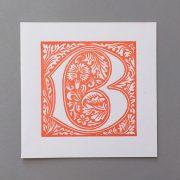 letterpress card william morris b orange