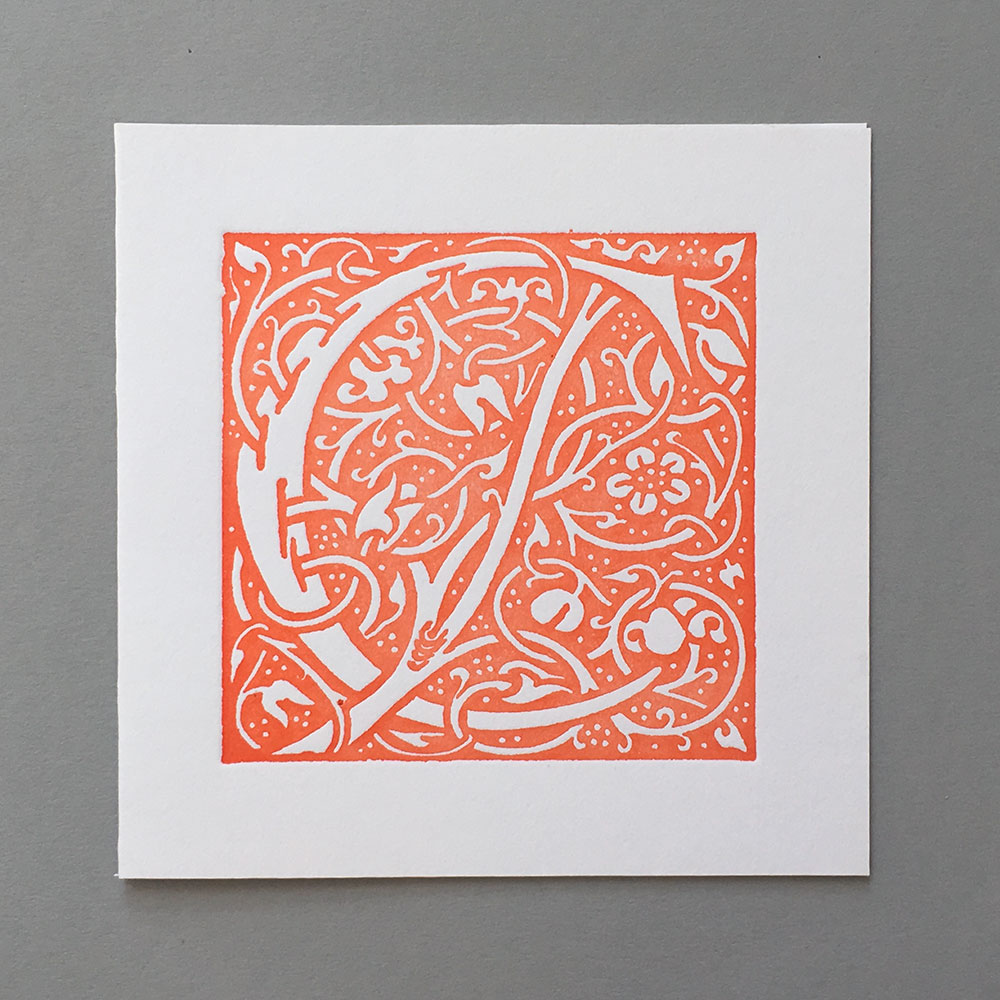 Letter Press Card William Morris C orange