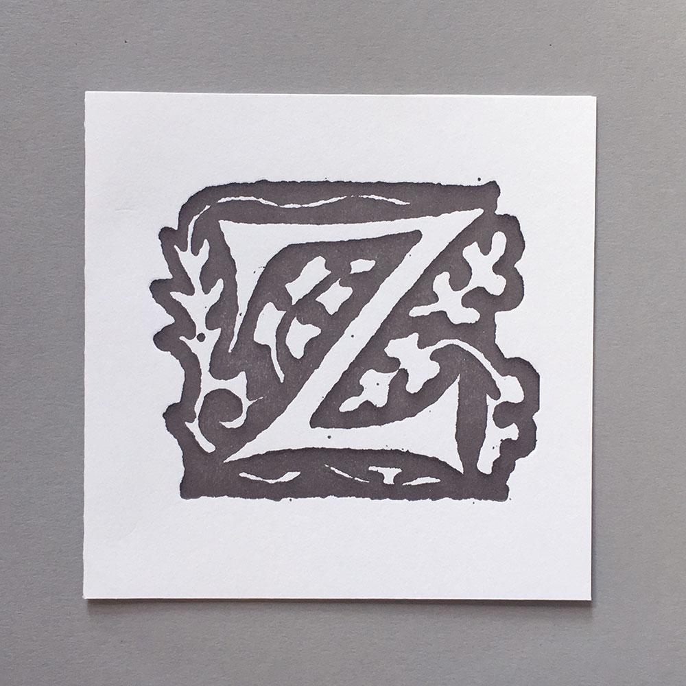 Letter Press Card William Morris Z